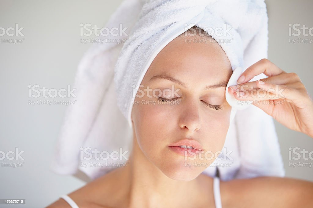 She takes her sking care seriously royalty-free stock photo
