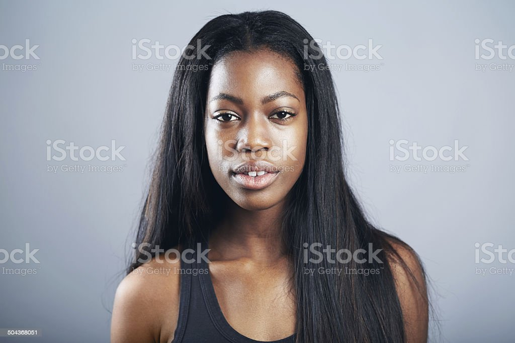 She takes pride in her natural beauty stock photo