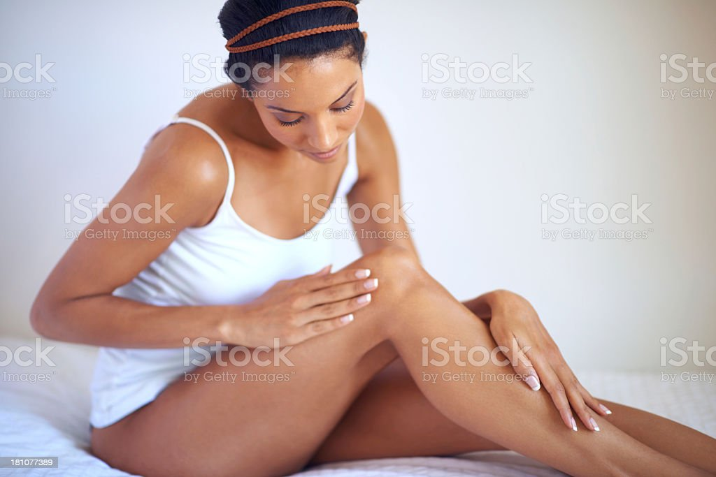 She takes skincare seriously stock photo
