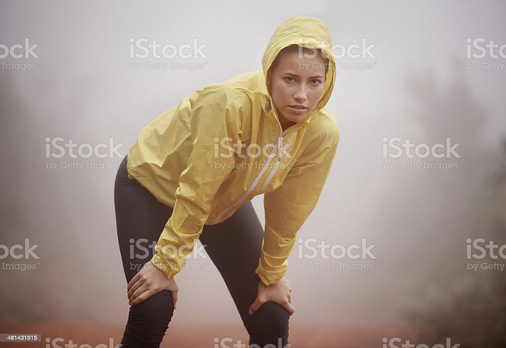 She trains in any weather stock photo