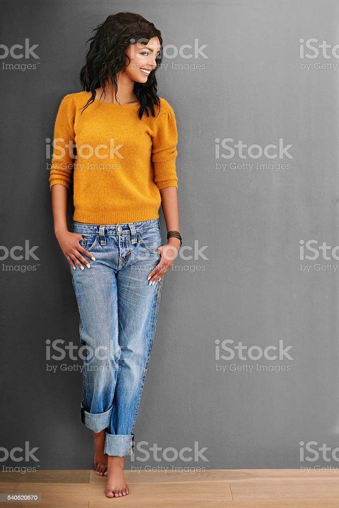 She wears casual best stock photo