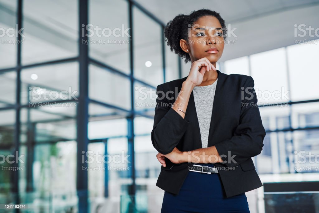 She'a always thinking about her next move stock photo