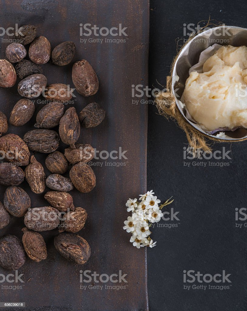 Shea butter and shea nuts stock photo