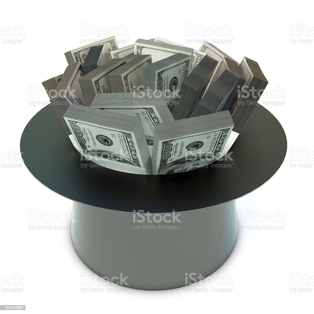 sheaf 100 Dollas banknote in the cap stock photo