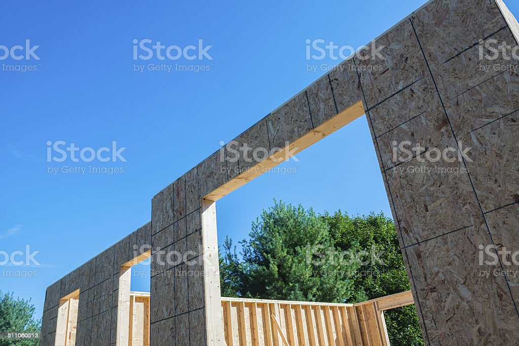 OSB Sheathing in a New Home Construction with 2x6 studs stock photo
