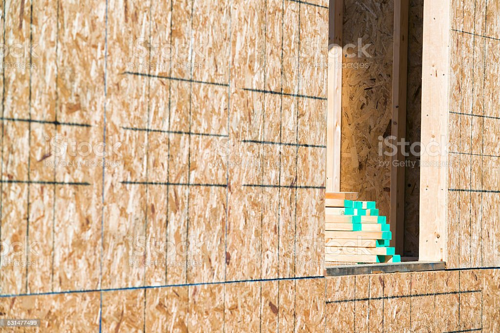 OSB Sheathing on a Newly Home Construction with 2x6 studs stock photo