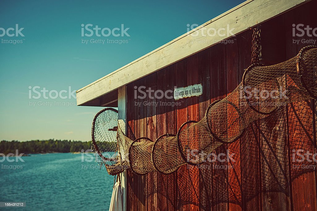 Shed by the swedish coast stock photo