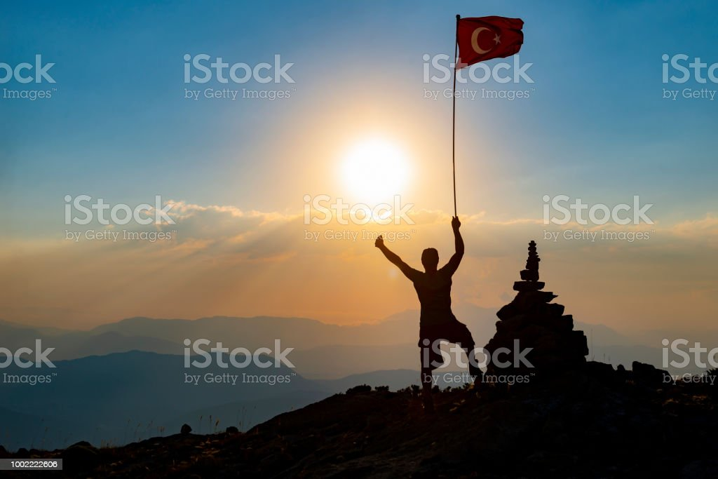 shedding light on the future, flag raising and awareness campaign stock photo