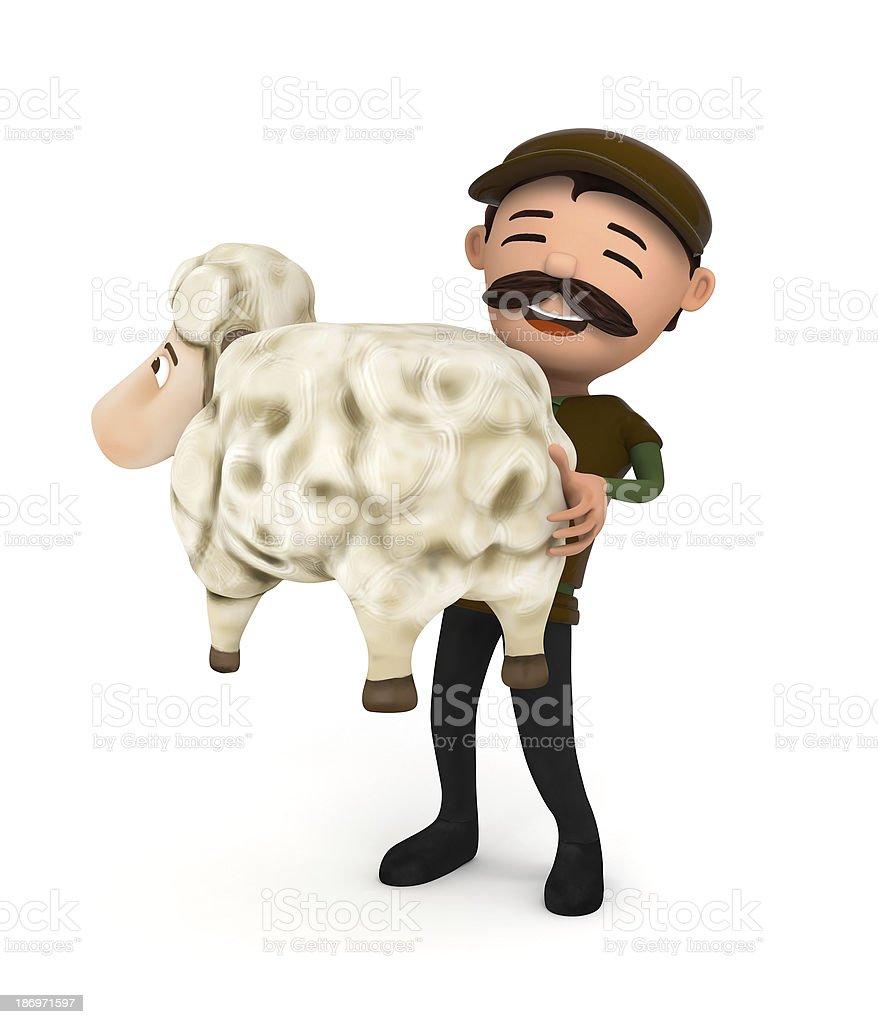 sheep and sheepman stock photo