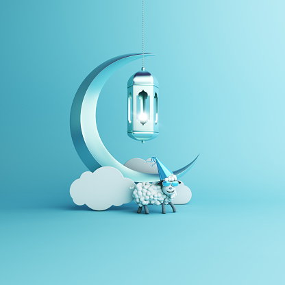 istock Sheep, cloud, crescent moon, hanging arabic lamp on studio lighting blue pastel background. Design concept of islamic celebration eid al adha or happy birthday. 1163119570