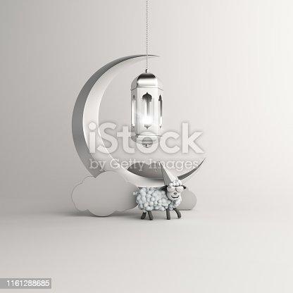 istock Sheep, cloud, crescent moon, hanging arabic lamp on studio lighting white background. Design concept of islamic celebration eid al adha or happy birthday. 3d illustration. 1161288685