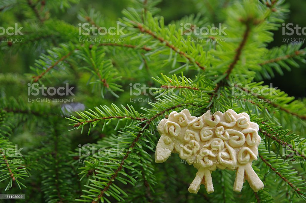 Sheep from salt dough on christmas tree royalty-free stock photo