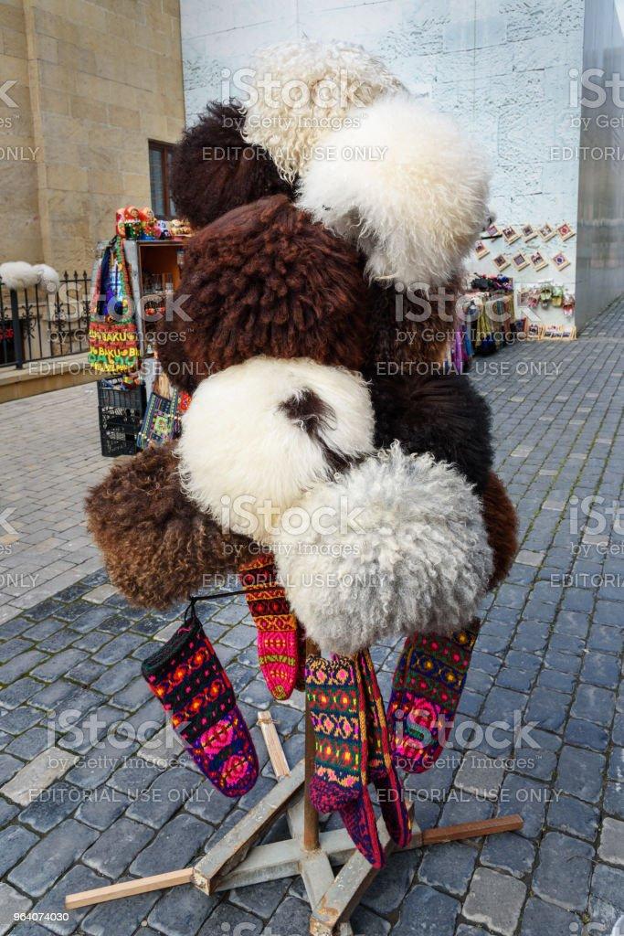 Sheep hats in market in Old city Icheri Sheher. Baku. Azerbaijan - Royalty-free Azerbaijan Stock Photo