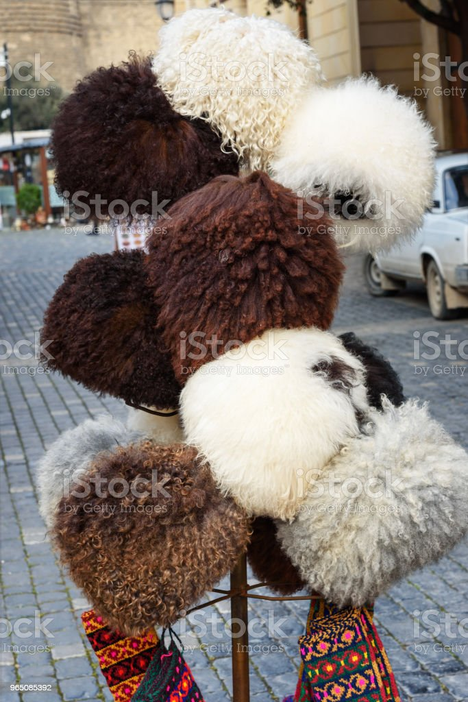 Sheep hats in market in Old city Icheri Sheher. Baku. Azerbaijan royalty-free stock photo