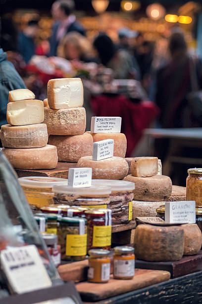 Sheep Milk Cheese. Organic produce for sale at market. stock photo