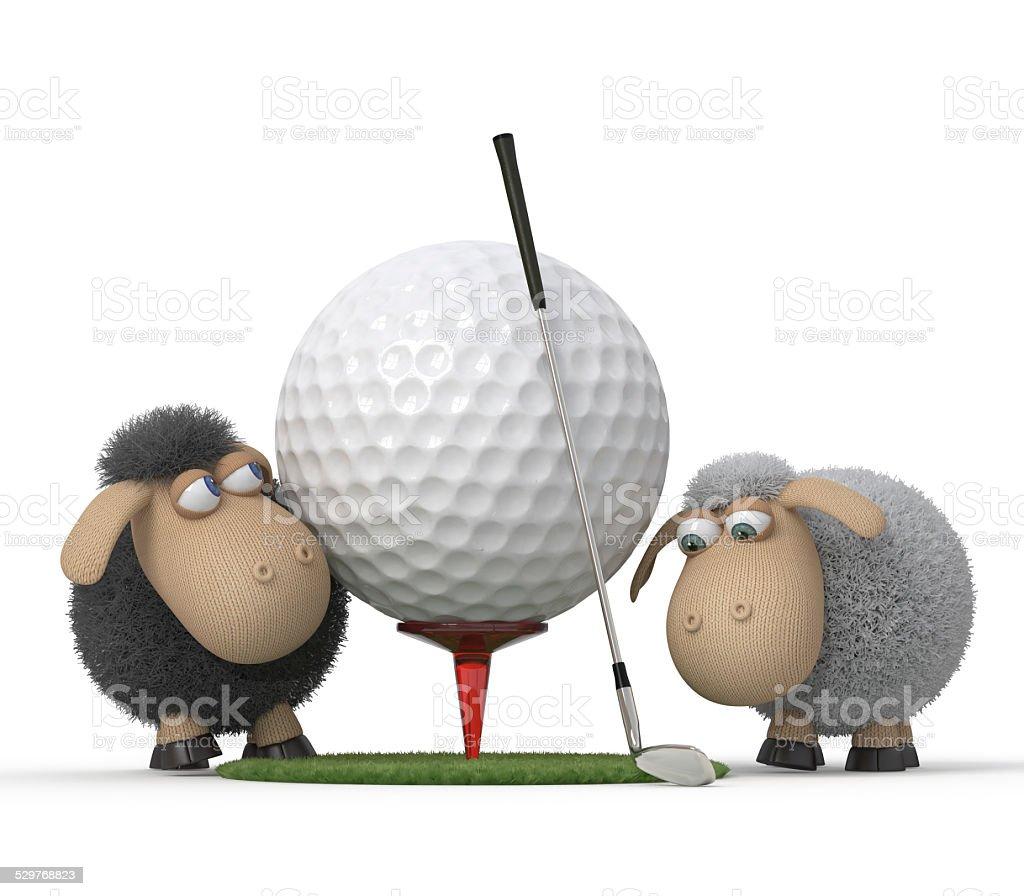 Sheep play golf stock photo