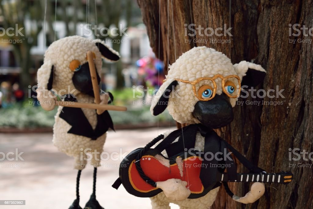 Sheep puppets on a park in Usaquen, Bogota, Colombia stock photo