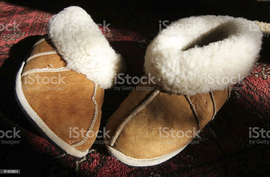 Sheep Skin  Slippers royalty-free stock photo