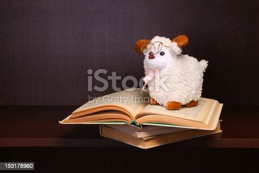 istock Sheep toy sits on stack of books. 153178960