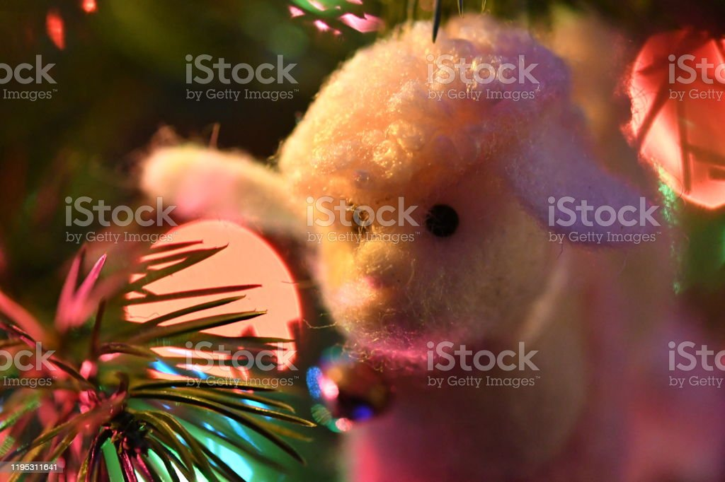 Sheep with Bell Ornament Close up Festive Decorations Christmas Stock Photo
