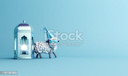 istock Sheep with glasses and  arabic lamp lantern on studio lighting blue pastel background. 1161287903