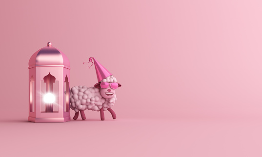 istock Sheep with glasses and  arabic lamp lantern on studio lighting pink pastel background. Design creative concept of islamic celebration eid al adha, ramadan or happy birthday. 1162256781