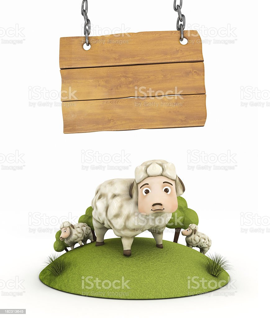 sheep with wooden frame stock photo