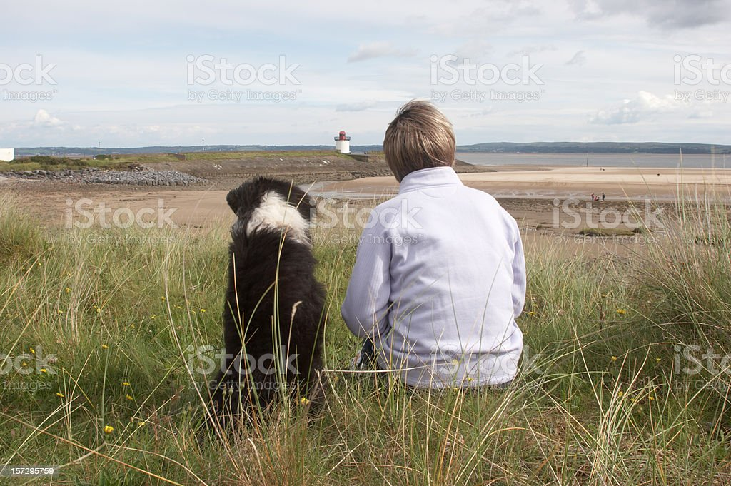Sheepdog cross at the beach with owner right royalty-free stock photo
