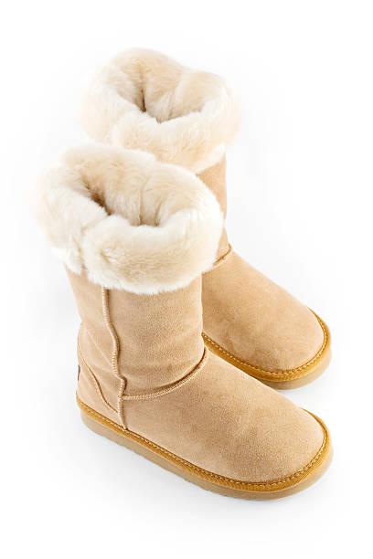 sheepskin boot - lammfellstiefel stock-fotos und bilder