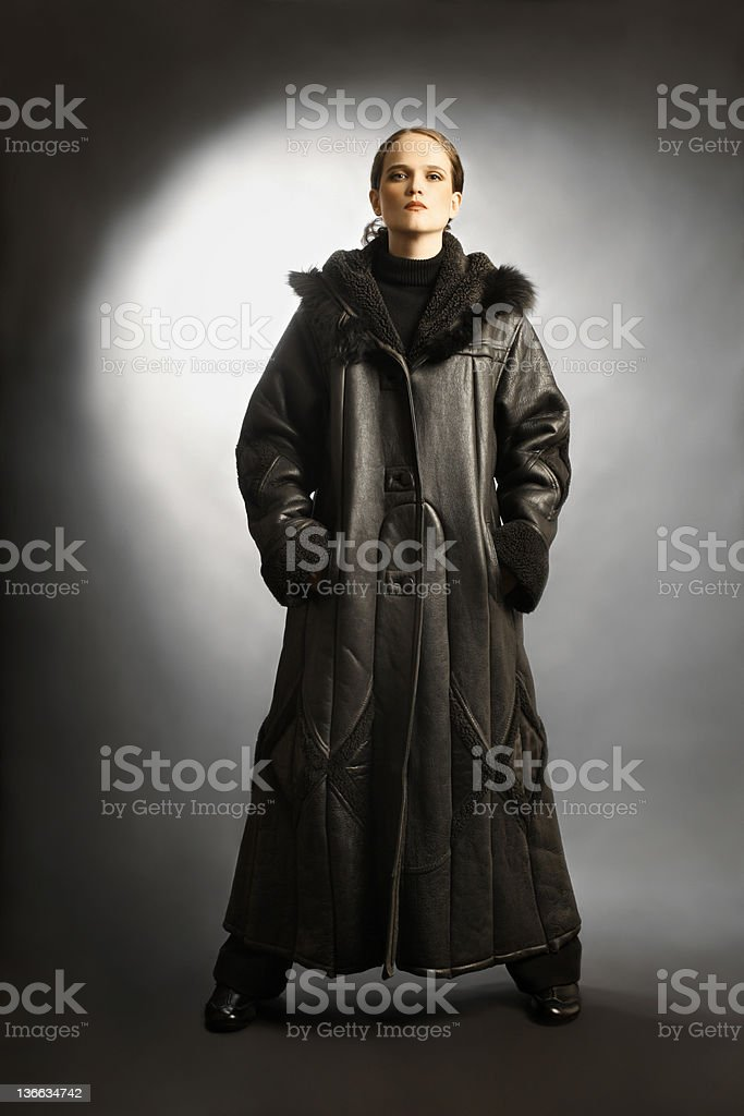 Sheepskin coat winter clothes fashion stock photo