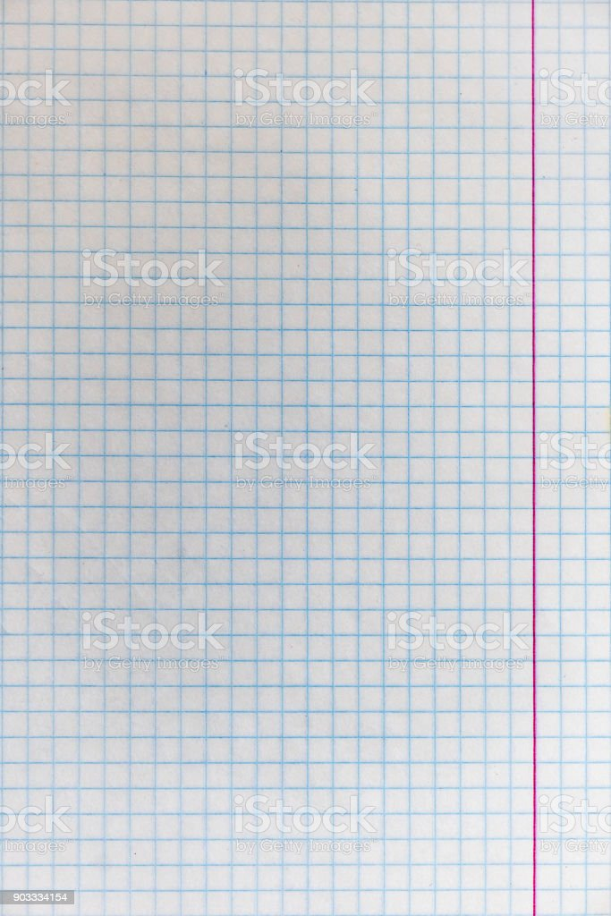 Sheet from school notebook in the cage stock photo