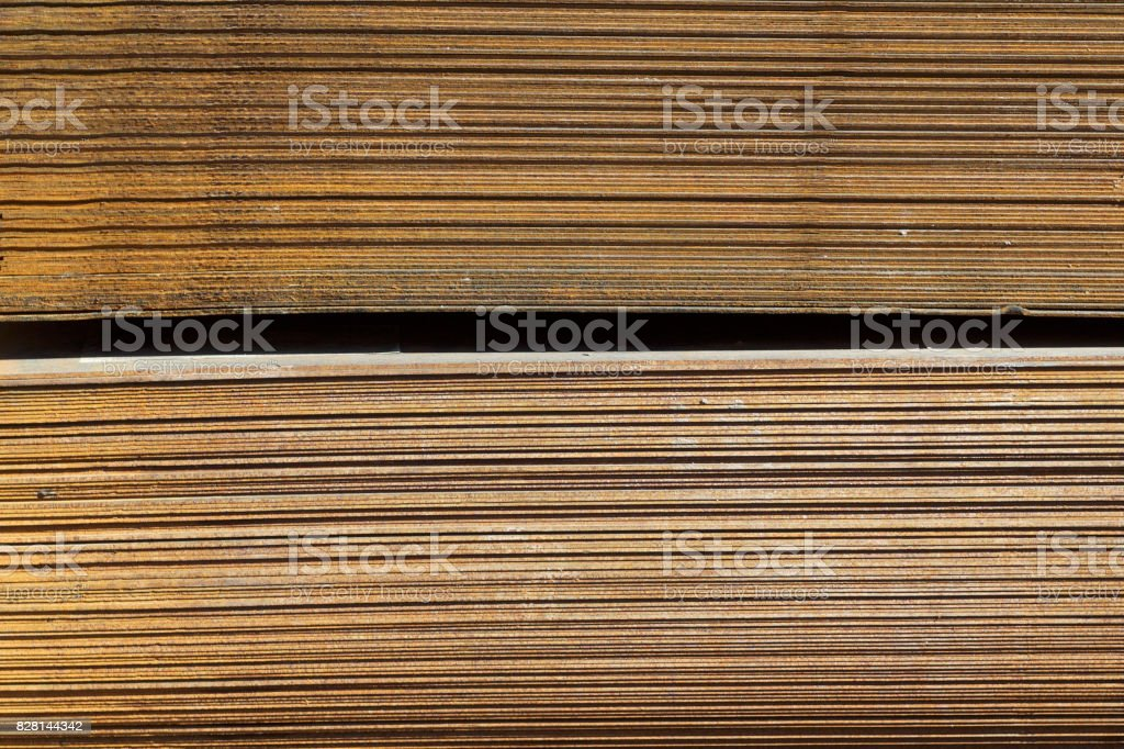 Sheet metal is in bundles in the warehouse stock photo