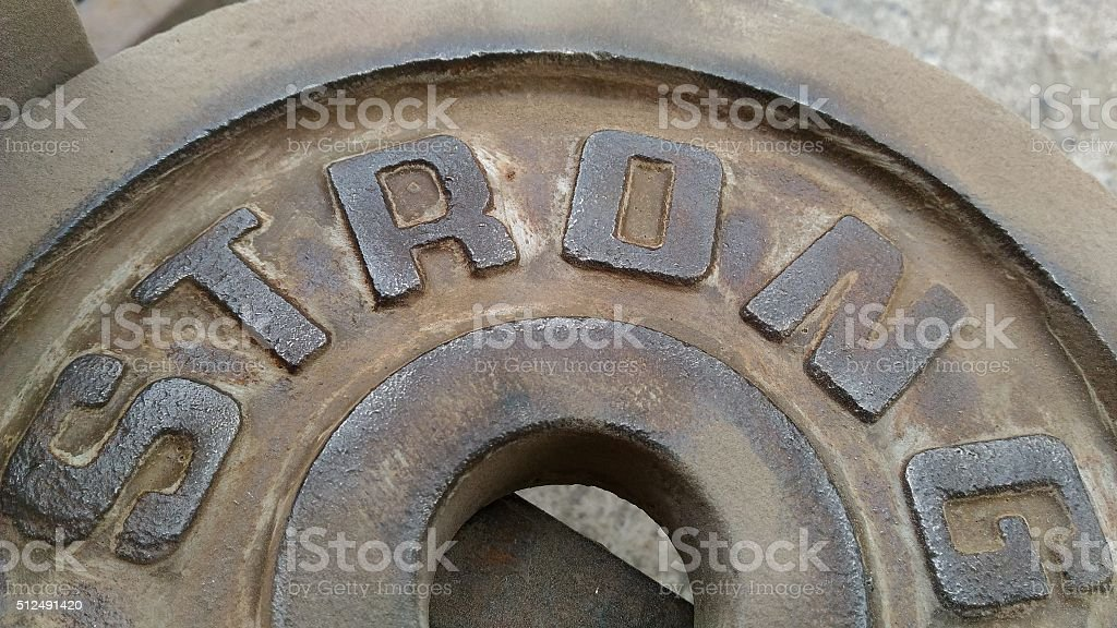 Sheet Metal With Letters Strong That Are Polisheding Rust