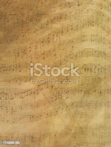 Sheet music is layered with mottled texture.
