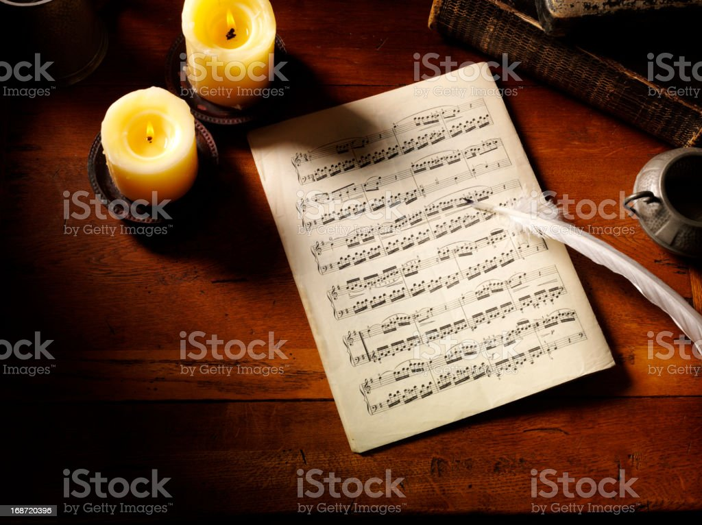 Sheet Music and a Quill Pen royalty-free stock photo