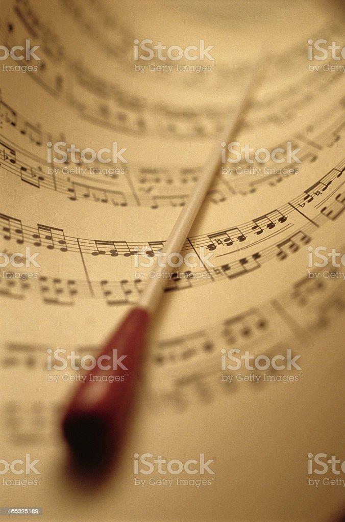 Sheet Music And Baton stock photo