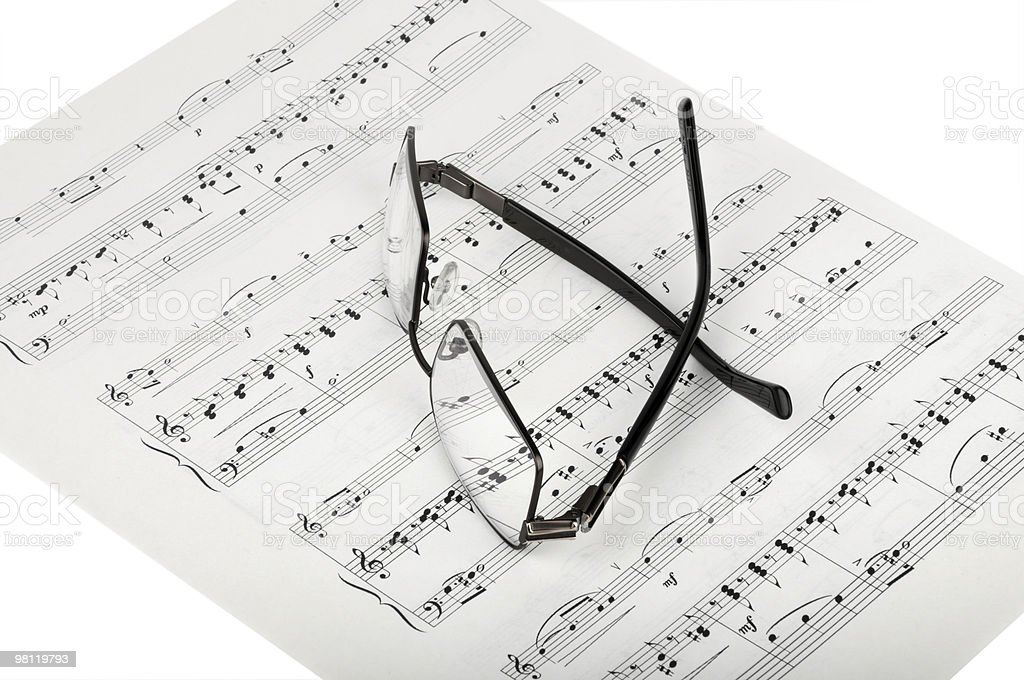 Sheet Music And Glasses royalty-free stock photo