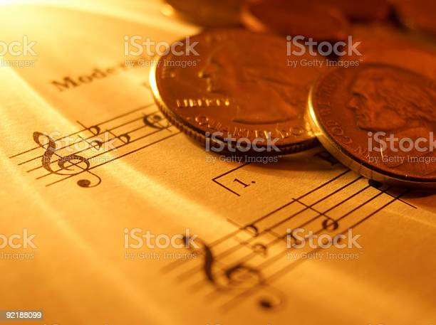 Sheet Music And Money Stock Photo - Download Image Now