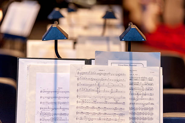 Sheet music at the stage stock photo
