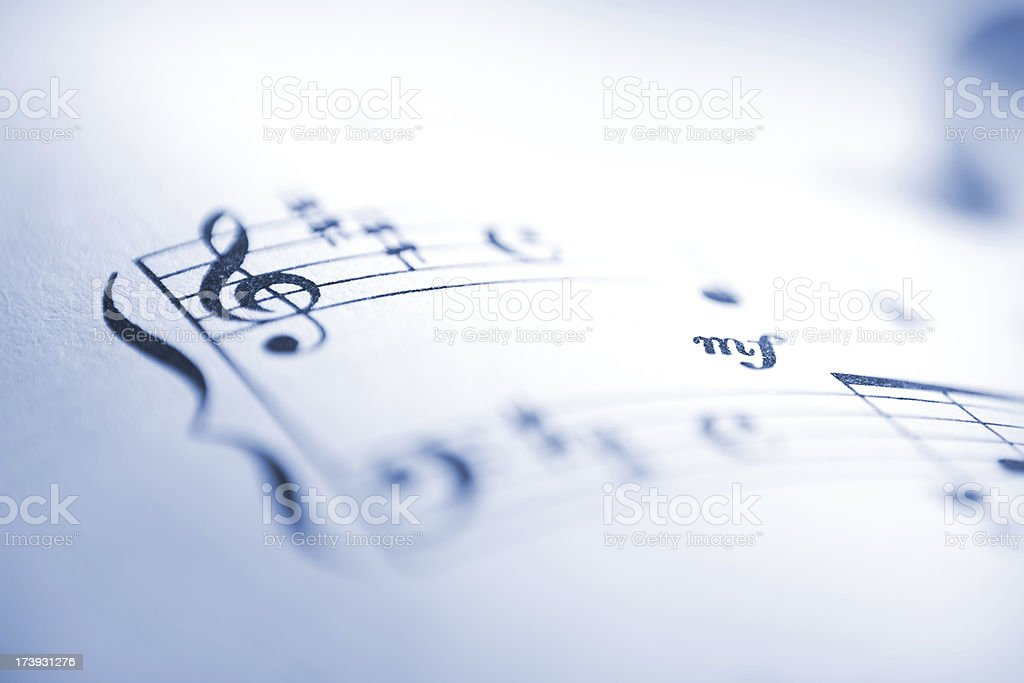 Sheet music notes macro stock photo