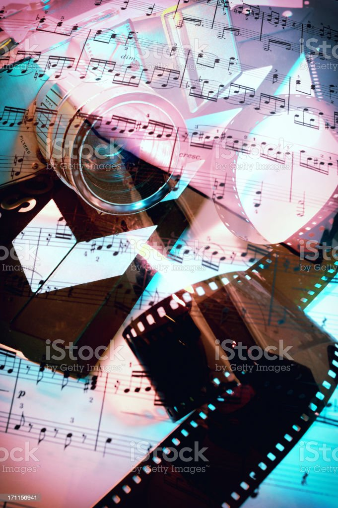 Sheet music on 16mm camera stock photo