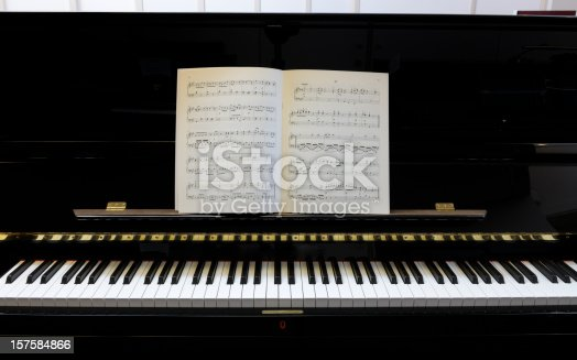 sheet music on polished black lacquered piano