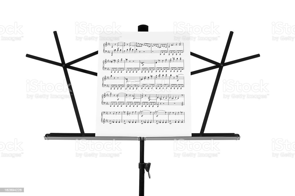 Sheet Music on Stand Close-up stock photo