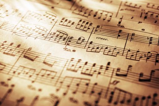 Close-up shot of sheet music in sepia tone.Similar images -