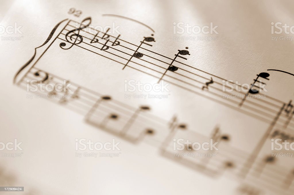 sheet music series in treble cleft stock photo
