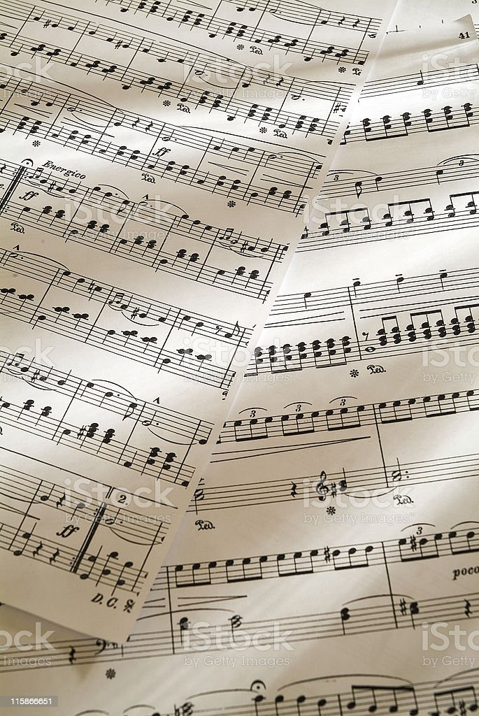 Sheet music with split light source 02 royalty-free stock photo