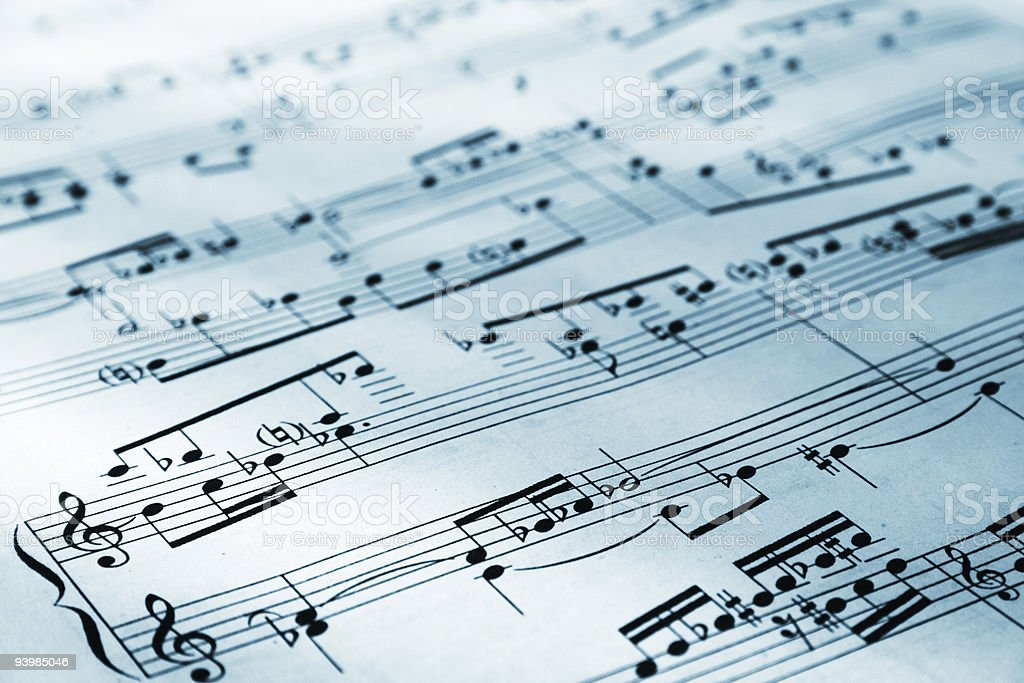 Sheet music with staff and notes stock photo