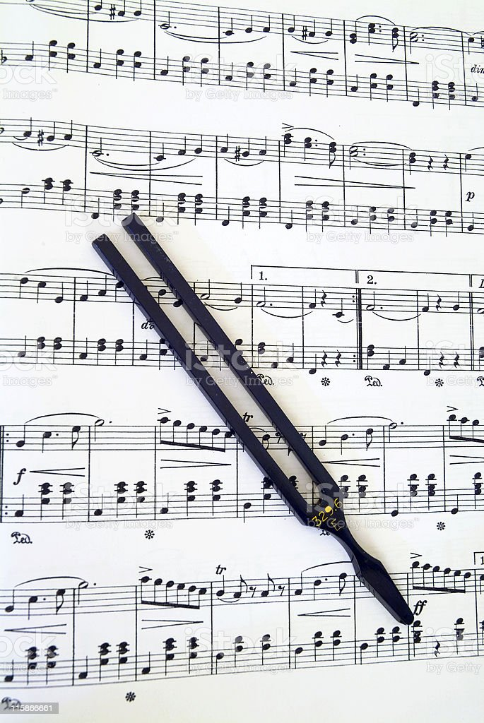 Sheet Music with Tuning Fork 01 royalty-free stock photo
