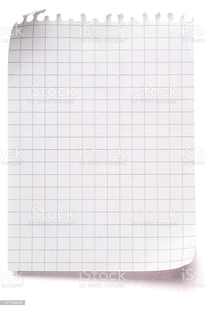 Sheet of blank maths paper isolated on white stock photo