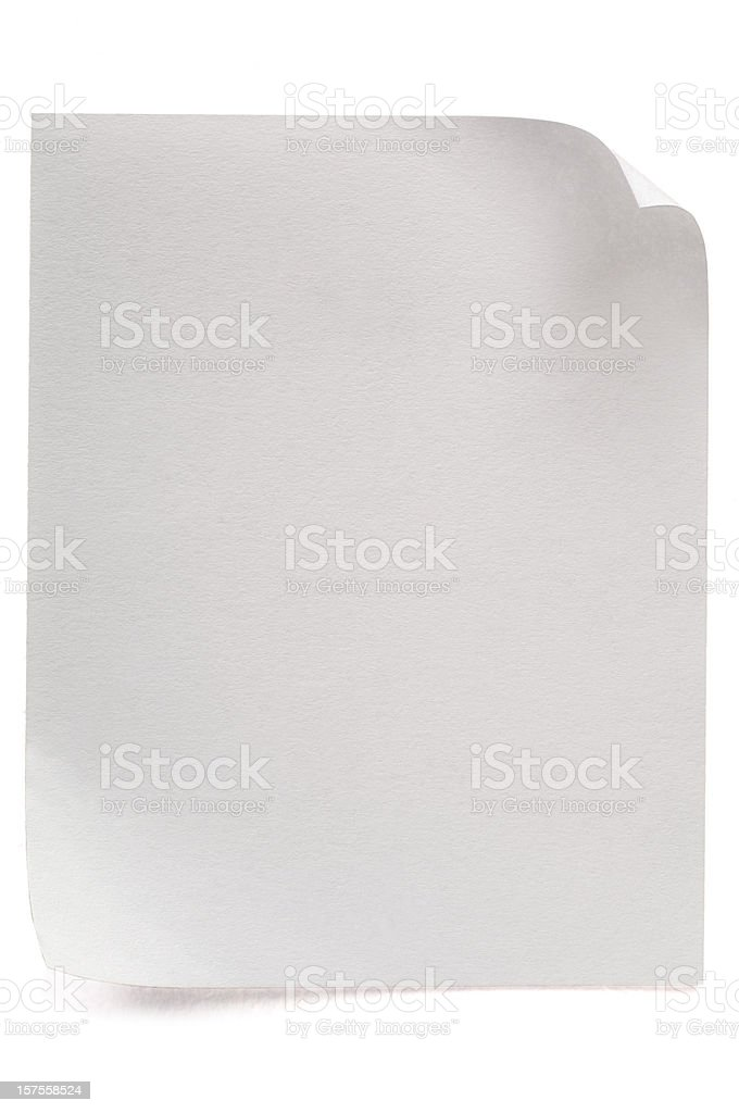 Sheet of blank note paper on white royalty-free stock photo